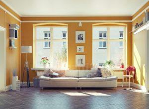 warna ruangan cerah mustard